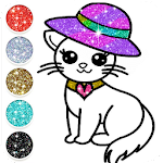 Cute Kitty Coloring Book For Kids With Glitter icon