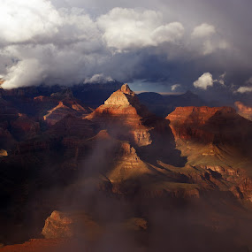 Clouds Part Over the Canyon by Brian Kerls - Landscapes Mountains & Hills ( stormy, mountain, america, sandstone, rock, storm, usa, hiking, grand canyon, geology, nature, iconic, arizona, red rock, southwest, weather, rock formation, clouds, cliff, canyon, storm clouds, landmark, national park, fog, outdoors, western )
