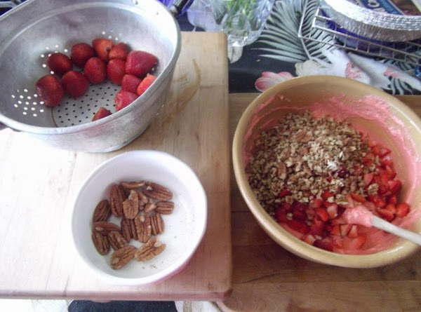 Add strawberries and nuts to cake batter.