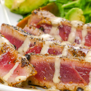 Pepper Crusted Seared Ahi Tuna with Tahini