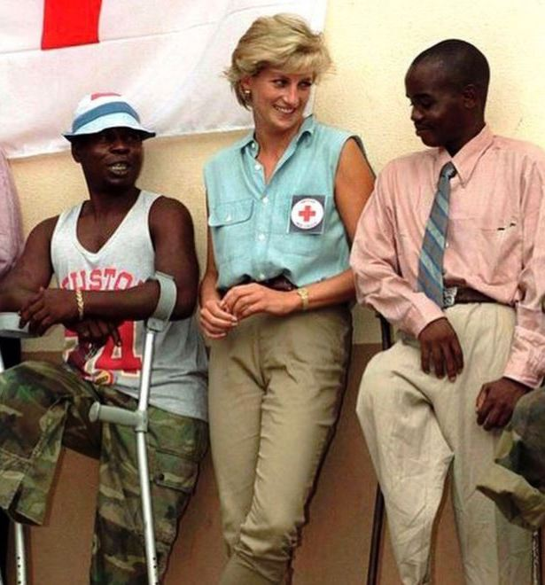 Harry and Meghan posted this 1997 photograph of Princess Diana visiting a demining area in Angola.