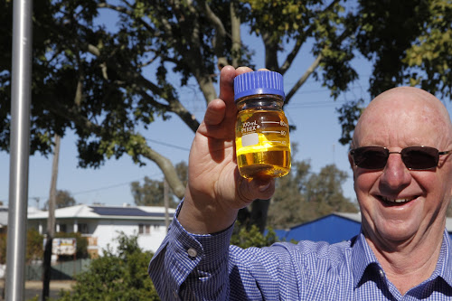University of Sydney researcher Graeme Rapp and golden mustard seed oil -  a product which has the potential to create a new industrial base to  power the local economy, Mr Rapp believes.