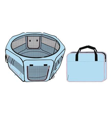 Hundbur Nylon Hage Rund Ljusblå/Rosa 74x74x34,5cm med Väska