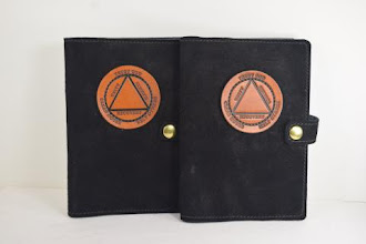 Photo: P0424 (left or right $39.95) Chrome Tanned Black color Suede leather Portable Paperback Big Book (Circle/Triangle and Snap & Strap)