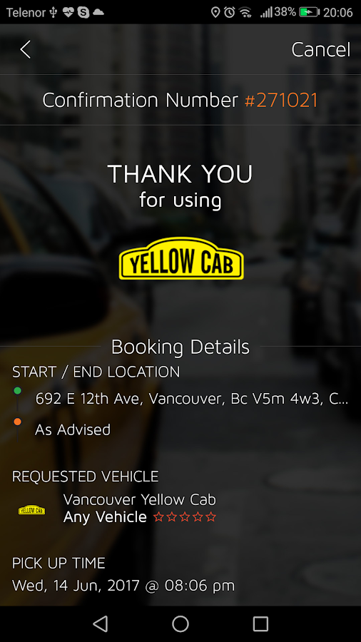Yellow Cab Vancouver- screenshot