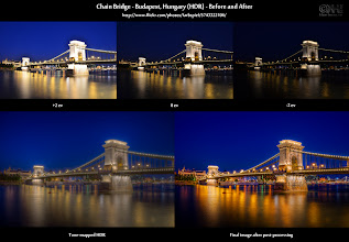 Photo: Night HDR Before-and-After: Chain Bridge ( photo: bit.ly/gp-chain )  Want more details? Expand this post!  Hi everybody! I hope you had a great weekend. Some of you around the world are still enjoying their Sunday. Just in case you are looking for something to do. How about creating an HDR image? :-)  Just as a bit of an inspiration, here is an before-and-after comparison of a blue-hour HDR of the famous chain bridge in Budapest, Hungary. At the top, you see the source images straight out of the camera. On the lower left, you see the result of the tone-mapping and at the lower right you find the final image.  Details - Go to [ bit.ly/fr-chain ] for a lot more behind-the-scenes information - Go to [ bit.ly/gp-chain ] for the original photo here on G+ - Find the before-and-after page at [ bit.ly/bna-chain ]  Interested in learning about HDR post-processing? Take a look at [ bit.ly/hdrcookbook ].  Have fun!