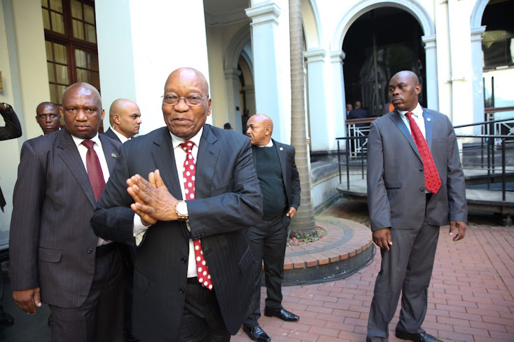 Jacob Zuma leaving the courtroom