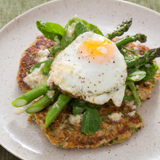 Savory Ricotta & Snow Pea Fritters with Roasted Asparagus, Pea Tips & Fried Eggs