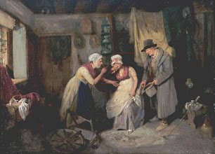Photo: This painting was done sometime in the early 1800's, before 1828. A somewhat truer view of English cottage life.