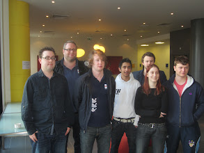 Photo: The winning 2013 Junior Camrose team: (left-to-right) Dan McIntosh, NPC David Gold, Tom Paske, Shivam Shah, Graeme Robertson, Sarah O'Connor and Basil Letts