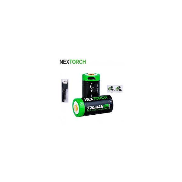 Nextorch CR123 720 mAh laddkontakt 2st
