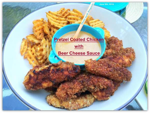Pretzel-coated Chicken W/beer Cheese Sauce