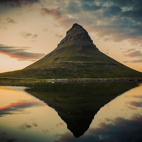 Kirkjufell by Ruslan Stepanov - Landscapes Mountains & Hills ( water, clouds, kirkjufell, iceland, reflection, sky, mountain, sunset )