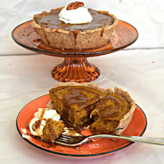 Pumpkin Pie With Caramel Sauce & Coconut Whipped Cream