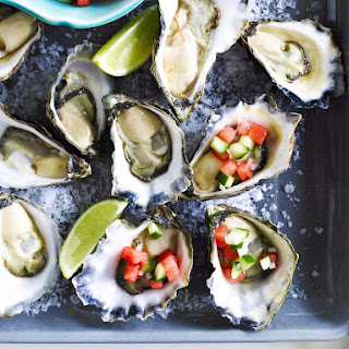 Fresh Oysters with Watermelon Cucumber Relish.