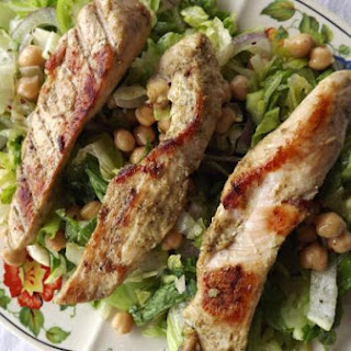 Grilled Boneless Chicken Breast with Green Tomato and Basil Salad