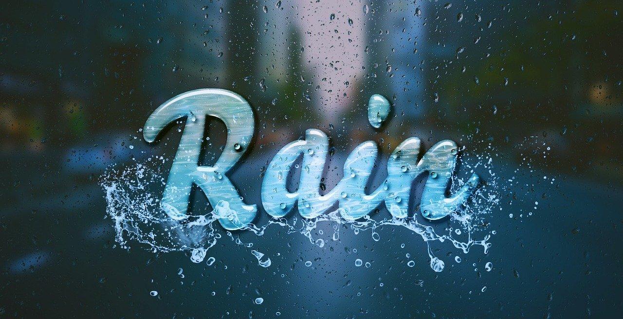 "the word ""rain"" on a window"