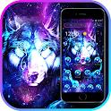 Neon Glitter Galaxy Wolf Launcher Theme icon
