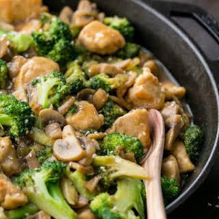 Chicken Broccoli and Mushroom Stir Fry.