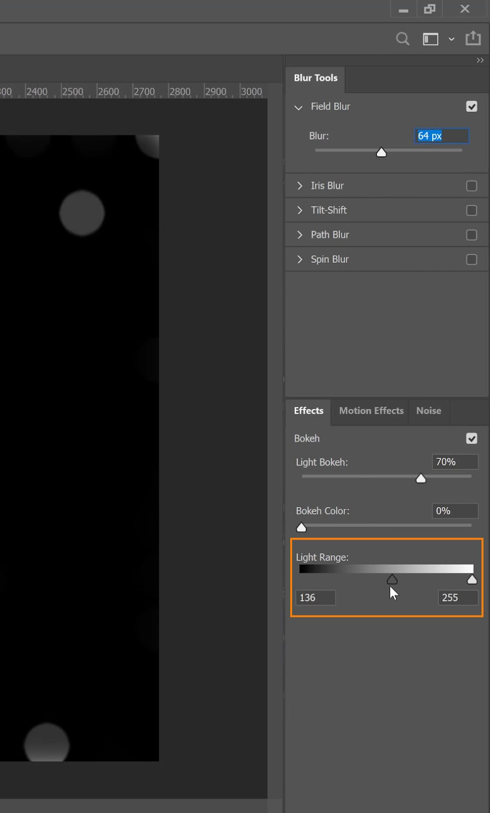Adjust the Light Range and drag the dark handle to the middle of the slider