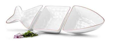 Fish serveringsskål 3 delar, vit