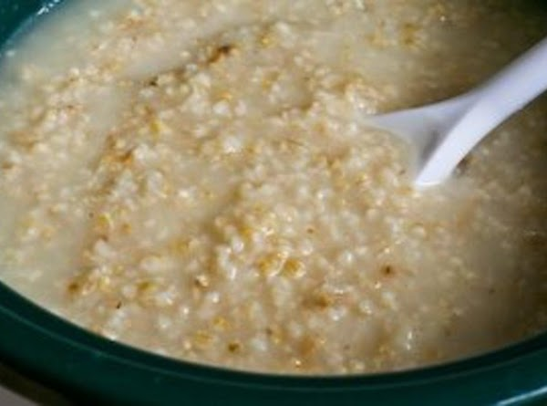 Pour in the liquid(s), add salt and stir until the oats get smooth and...