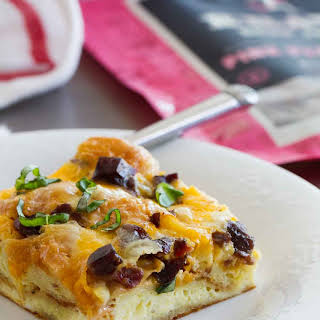 Croissant Breakfast Casserole with Jerky and Cheddar.