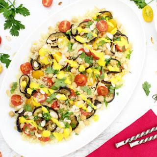 Roasted Aubergine Saffron Salad [vegetarian]