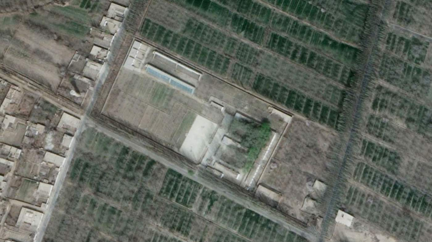 A 2018 satellite image showing a camp in Hotan where Ablet says he was detained