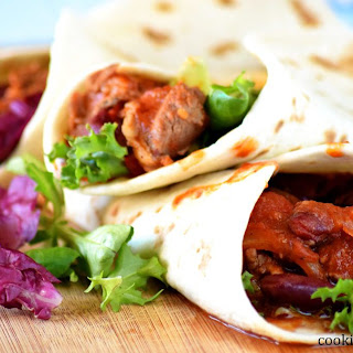 Tortilla Wraps With Turkey And Beans.
