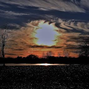 Kaleidoscope Sunset by Kathy Woods Booth - Landscapes Sunsets & Sunrises ( sparkle, reflection, sunset, ice, cloud formations, sundown, icy, swirls )
