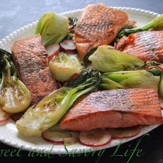 Salmon with Baby Bok Choy and Radishes.