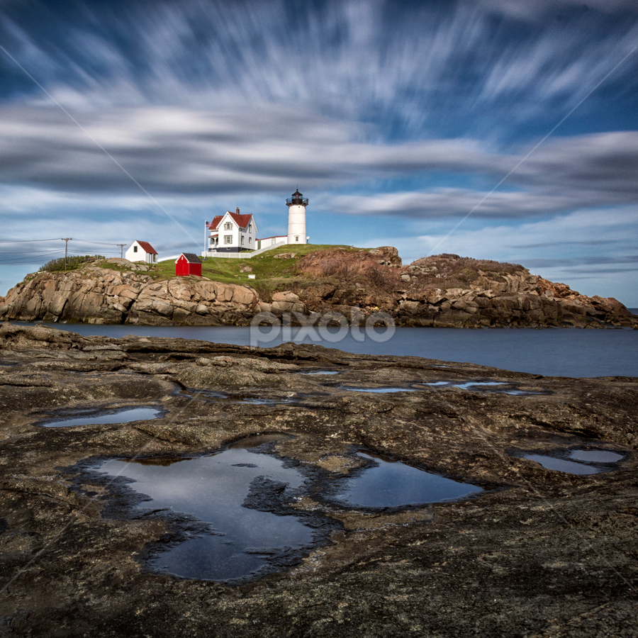 The Nubble by Robert Fawcett - Landscapes Travel ( clouds, lighthouse, long exposure, places, travel, landscape,  )