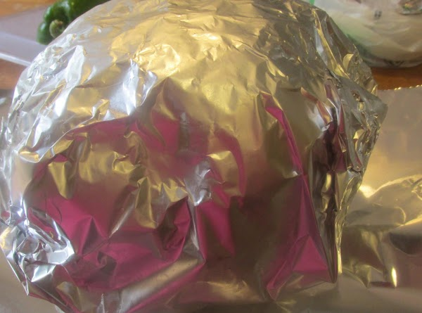 Now tear 3 sheets of heavy duty aluminum foil, that is long enough to...