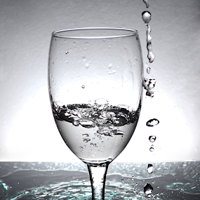 Water Splash by Micah Jaron Flack - Black & White Objects & Still Life ( water, splash, glass, artistic object, water splash )