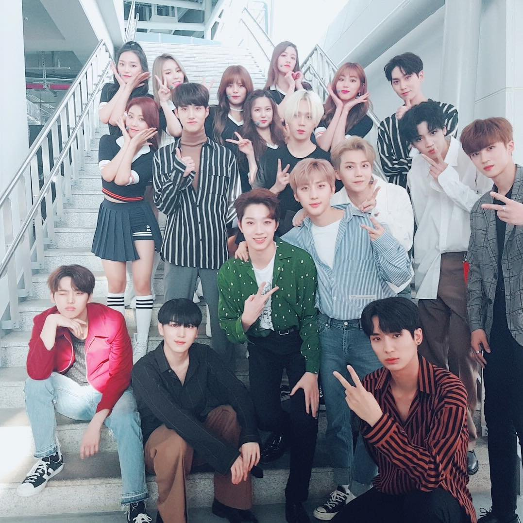 Lai Kuanlin with Cube Entertainment artists