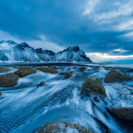 Vestrahorn Awaiting Sunrise by Nathan G - Landscapes Mountains & Hills ( clouds, iceland, mountains, sunrise, landscape,  )