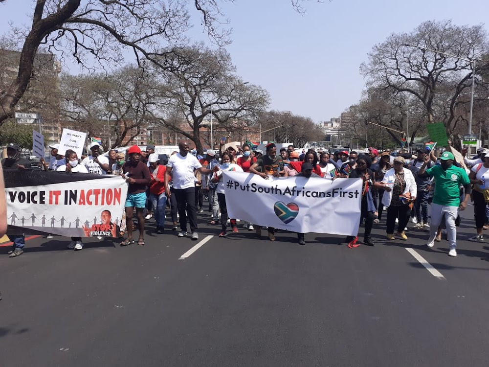 Marchers to embassies in Pretoria demand #PutSouthAfricansFirst — ahead of foreigners - TimesLIVE