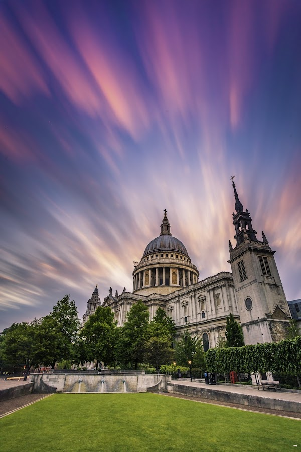 St. Paul Cathedral, London by Nikolas Ananggadipa - Buildings & Architecture Places of Worship ( contrast, clouds, england, uk, building, london, colorful, sunset, dramatic, long exposure, cathedral, colorfull,  )