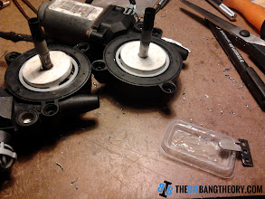 Photo: Putting Epoxy Glue to align the threaded rod with the motor's axle