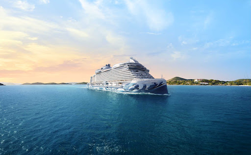 ncl-Prima-Aerial-Caribbean.jpg -  A rendering of Norwegian Prima, which debuts in fall 2022 with trips to Northern Europe and the Caribbean.