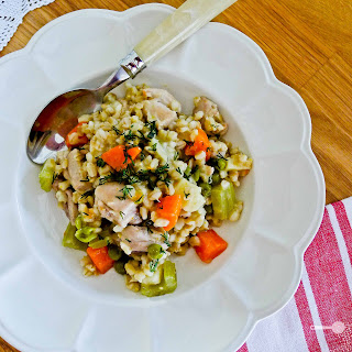 Pearl Barley 'Risotto' with Vegetables and Chicken Recipe