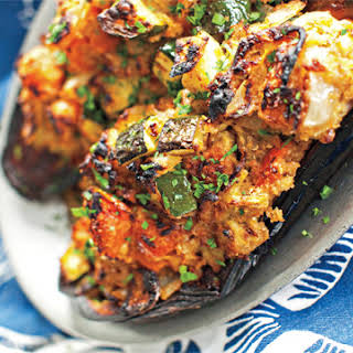 Eggplant Stuffed with Smoky Tomato–Anchovy Ratatouille.