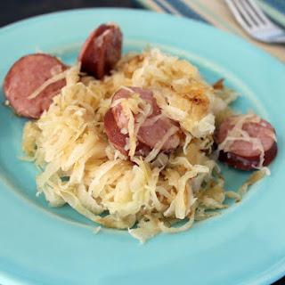 Kielbasa And Fried Buttered Sauerkraut.