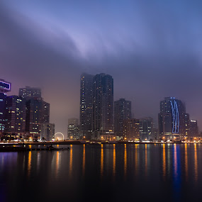 Foggy Evening by Salman Ahmed - City,  Street & Park  Skylines ( clouds, highrise, skyline, towers, fog, weather, cityscape, al majaz, sharjah )