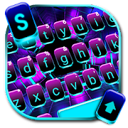 Neon Space Lights Keyboard Theme