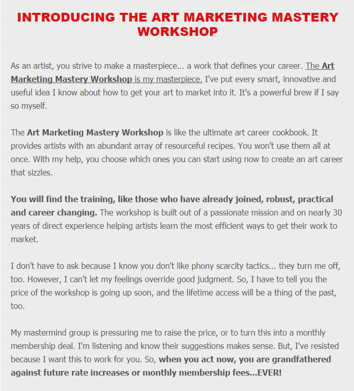 Art Marketing Mastery Workshop