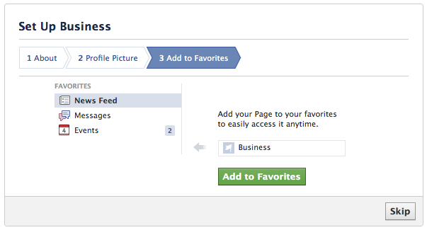 add to favorites facebook
