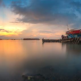 Abandoned boat by Ah Wei (Lung Wei) - Transportation Boats ( penang, sunrise, abandoned boat, 9 emperor gods temple, penang island, paysage, air, clouds, samyang, long exposure, malaysia, sun, seascape, penang bridge, george town, pulau pinang, samyang 12mm f2.8, nature, shore, magic hour, samyang 12mm f/2.8 ed as ncs fisheye, boats, george town penang, sunlight, sunrises, fisheye, light, seashore, beach, landscape )