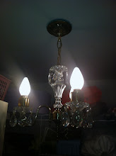 Photo: 2/6 - The ancient light fixture lives again. Cleaned, rewired and with dangly crystal appended thereunto.